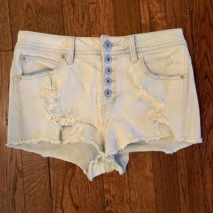 *GUESS* Sz 26/2 Buttonfly Distressed Jean Shorts